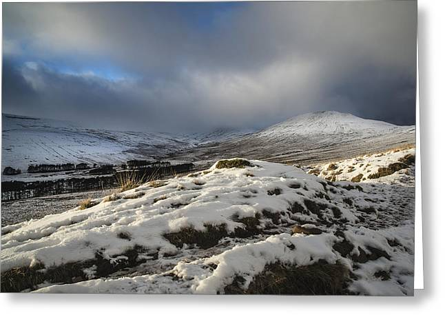 Brecon Beacons Greeting Cards - Beautiful morning over Winter landscape of snow covered mountain Greeting Card by Matthew Gibson