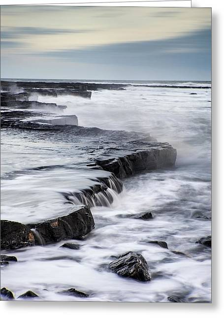 Colorful Cloud Formations Greeting Cards - Beautiful seascape landscape of rocky shore at sunset Greeting Card by Matthew Gibson