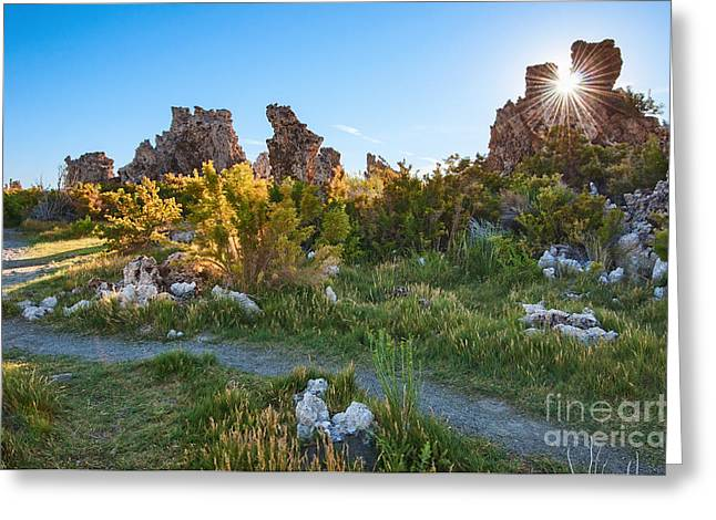 Burst Greeting Cards - Beautiful view of the strange Tufa Towers of Mono Lake. Greeting Card by Jamie Pham