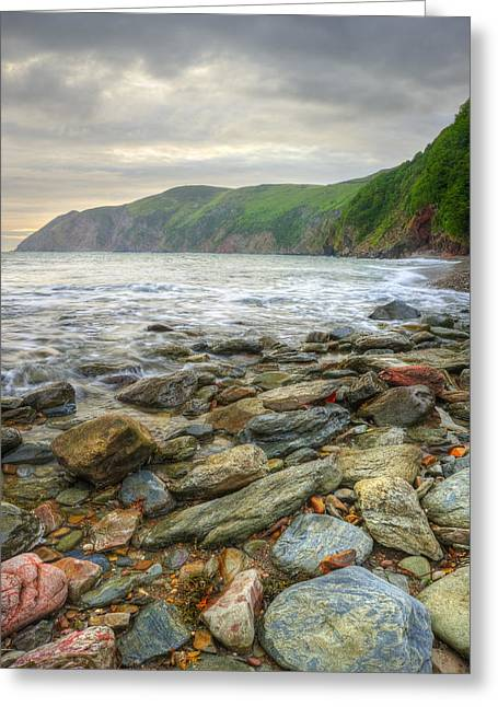 Warm Summer Greeting Cards - Beautiful warm vibrant sunrise over ocean with cliffs and rocks Greeting Card by Matthew Gibson