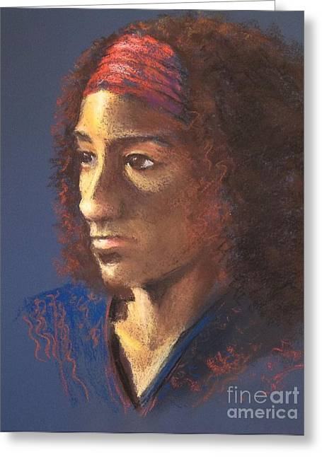 African-american Pastels Greeting Cards - Becca - Live Model Painting Greeting Card by Yoshiko Mishina