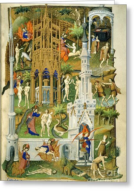 The Creation Of Adam Greeting Cards - Bedford Hours Greeting Card by British Library