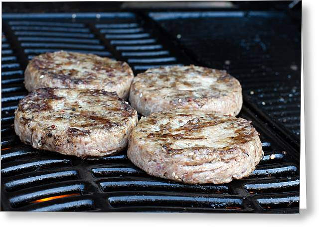 Grate Greeting Cards - Beef quarterpounder burgers cooking on the gas barbecue Greeting Card by Fizzy Image