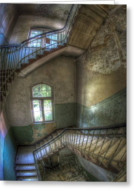 Creepy Digital Art Greeting Cards - Beelitz stairs  Greeting Card by Nathan Wright