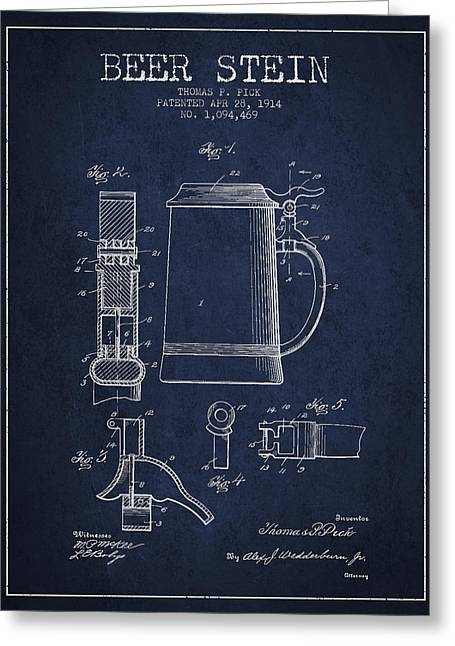 Stein Greeting Cards - Beer Stein Patent from 1914 - Navy Blue Greeting Card by Aged Pixel