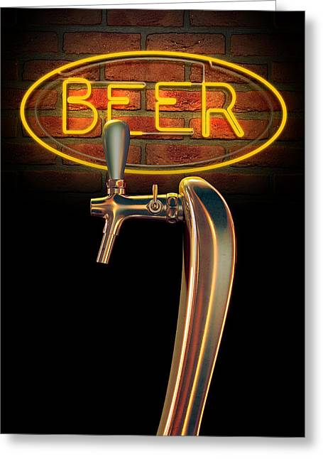 Copy Machine Greeting Cards - Beer Tap Single With Neon Sign Greeting Card by Allan Swart