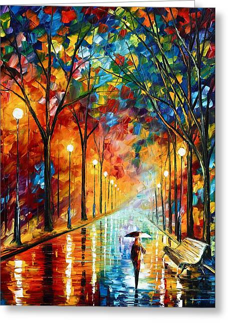 Park Benches Paintings Greeting Cards - Before the Celebration Greeting Card by Leonid Afremov