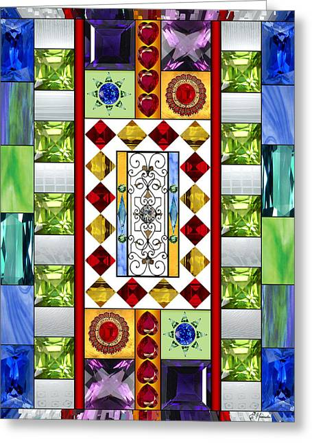 Turquoise Stained Glass Greeting Cards - Bejeweled 1 Greeting Card by Ellen Henneke