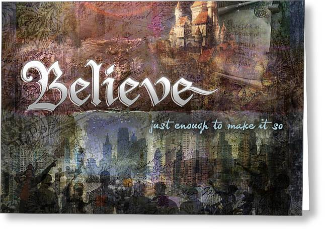 Holiday Digital Art Greeting Cards - Believe Greeting Card by Evie Cook
