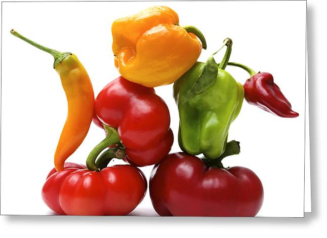 Vegetable Photographs Greeting Cards - Bell Peppers and Tomatoes Greeting Card by Bernard Jaubert