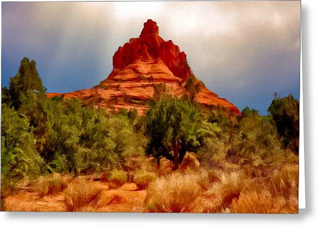 Bell Rock Vortex Painting Greeting Card by Bob and Nadine Johnston