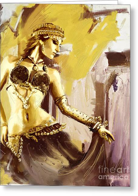 Belly Dance Greeting Cards - Abstract Belly Dancer 18 Greeting Card by Corporate Art Task Force