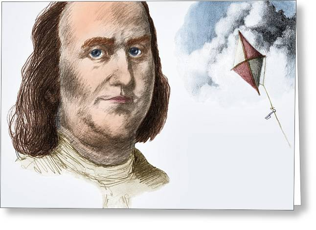 Us History Greeting Cards - Benjamin Franklin Greeting Card by Spencer Sutton
