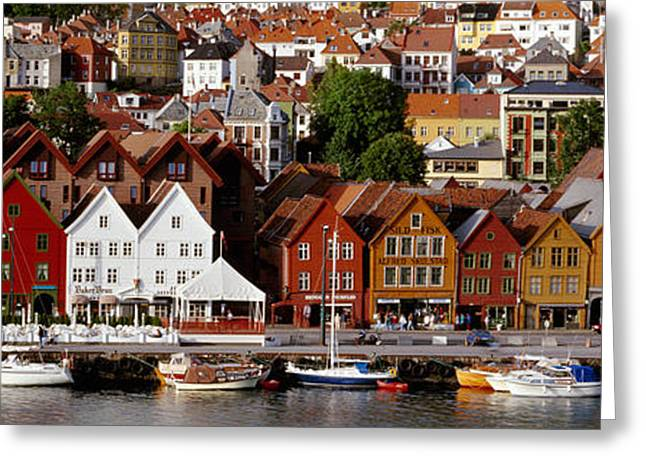 Norway Harbor Greeting Cards - Bergen Norway Greeting Card by Panoramic Images