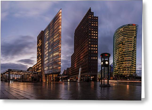 Himmel Pyrography Greeting Cards - Berlin - Potsdamer Platz Panorama Greeting Card by Jean Claude Castor