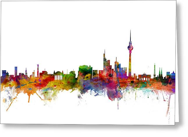 Cityscape Greeting Cards - Berlin Germany Skyline Greeting Card by Michael Tompsett
