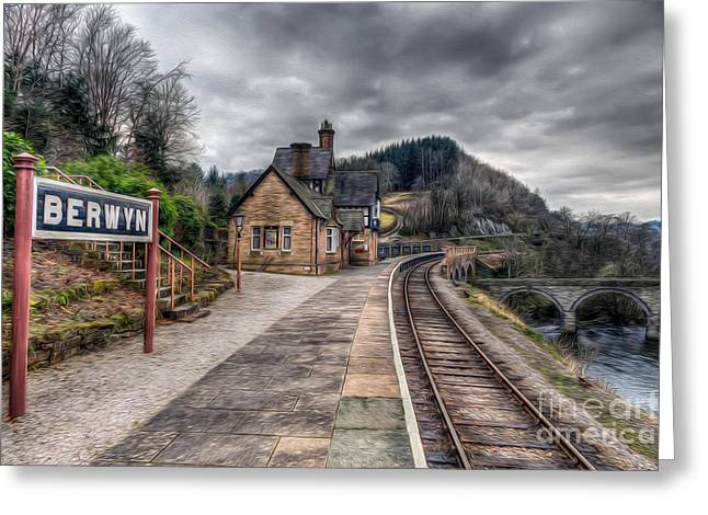 Oil Lamp Greeting Cards - Berwyn Railway Station Greeting Card by Adrian Evans