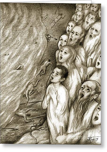 Religious Drawings Greeting Cards - Biblical Illustration Greeting Card by Alex Tavshunsky