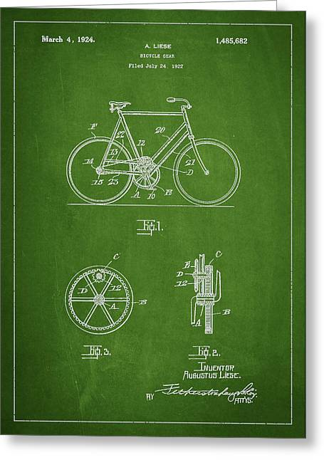 Sleds Greeting Cards - Bicycle Gear Patent Drawing from 1922 - Green Greeting Card by Aged Pixel