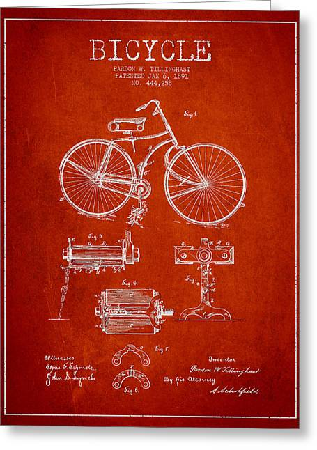 Vintage Bicycle Greeting Cards - Bicycle Patent Drawing from 1891 Greeting Card by Aged Pixel