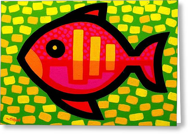Acrylic. Green Greeting Cards - Big Fish Greeting Card by John  Nolan