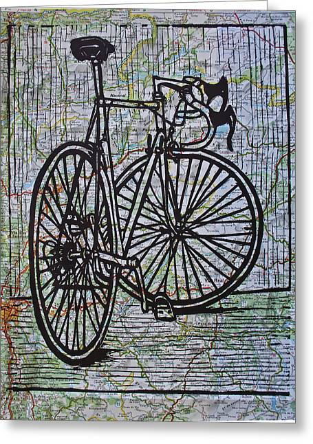 Lino Drawings Greeting Cards - Bike 4 on Map Greeting Card by William Cauthern