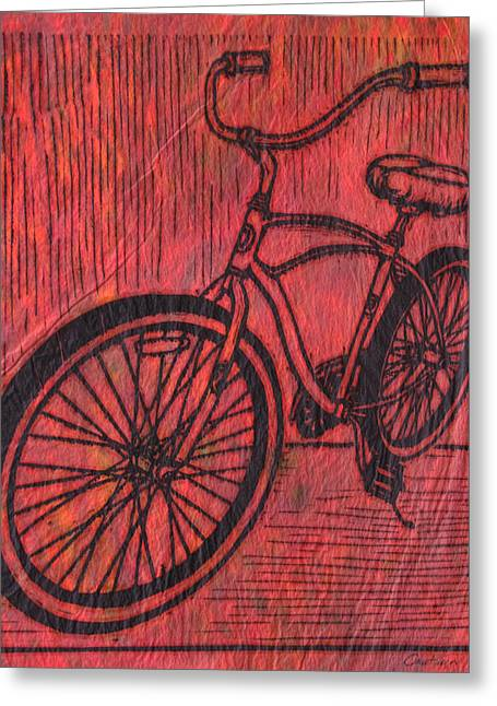 Lino Print Greeting Cards - Bike 6 Greeting Card by William Cauthern
