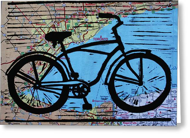 Lino Drawings Greeting Cards - Bike 9 Greeting Card by William Cauthern
