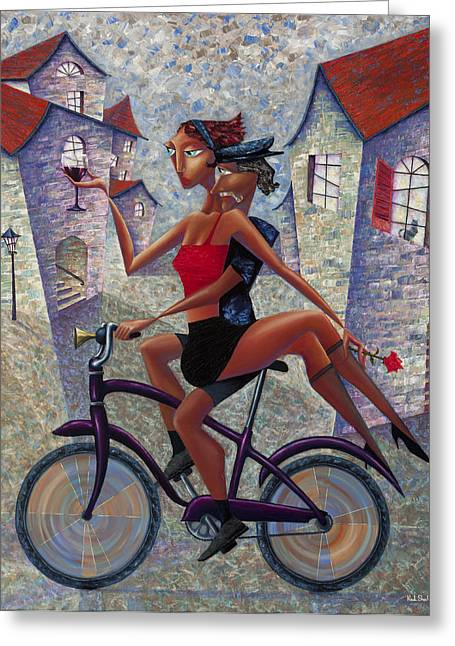 Wine Greeting Cards - Bike Life Greeting Card by Ned Shuchter