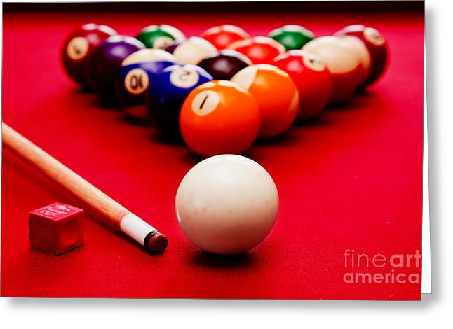 Recently Sold -  - White Cloth Greeting Cards - Billards pool game Greeting Card by Michal Bednarek