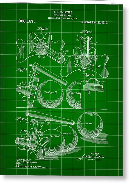 Basement Greeting Cards - Billiard Bridge Patent 1910 - Green Greeting Card by Stephen Younts