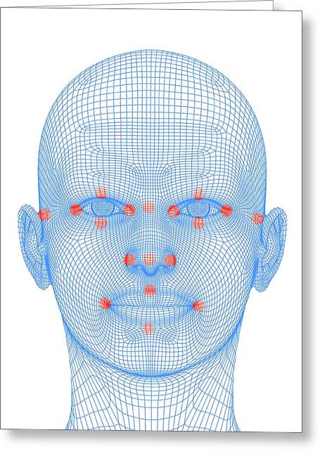 Biometric Facial Map Greeting Card by Alfred Pasieka