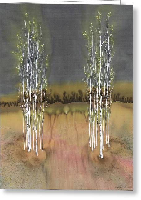 Trees Tapestries - Textiles Greeting Cards - 2 Birch Groves Greeting Card by Carolyn Doe