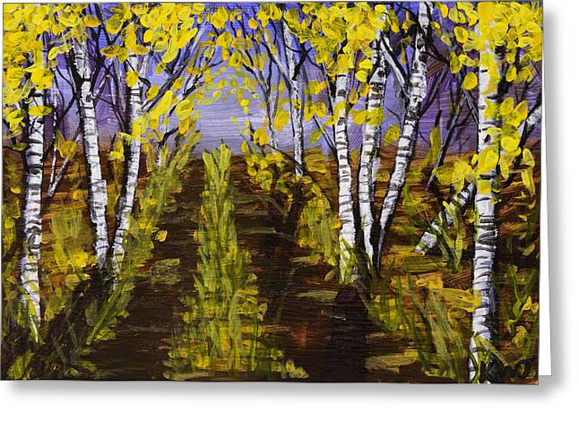 Yellow Leaves Greeting Cards - Birch Trees And Road In Fall Forest Painting Greeting Card by Keith Webber Jr