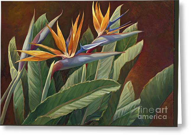 Bird Of Paradise Greeting Cards - 2 Birds of Paradise Greeting Card by Laurie Hein