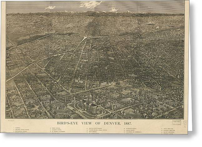 Birdseye Map Of Denver Colorado - 1887 Greeting Card by Eric Glaser