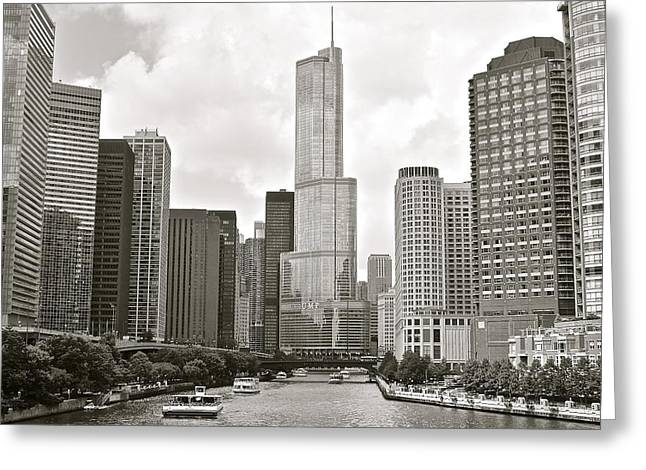 Riverwalk Greeting Cards - Black and White Chicago Greeting Card by Frozen in Time Fine Art Photography