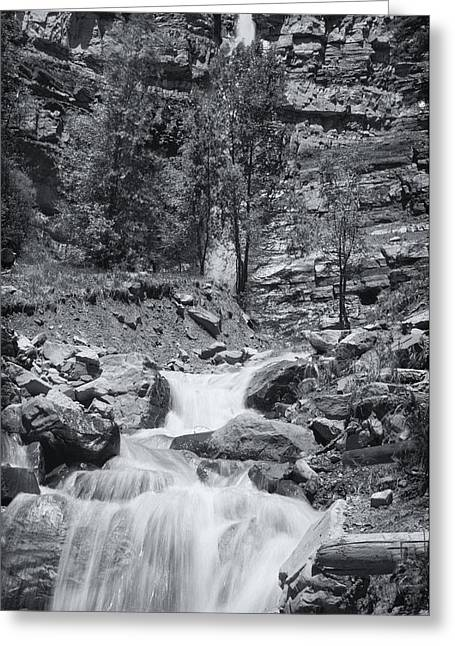 Perpetual Motion Greeting Cards - Black and White Waterfall Greeting Card by Melany Sarafis