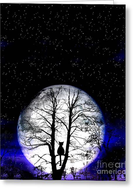 Wicked Kitty Greeting Cards - Black Cat On Tree Greeting Card by Nina Ficur Feenan