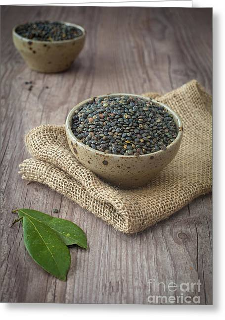 Wooden Bowl Greeting Cards - Black lentils Greeting Card by Sabino Parente