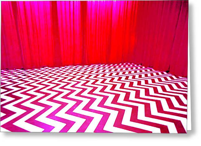 Black Lodge Greeting Card by Luis Ludzska
