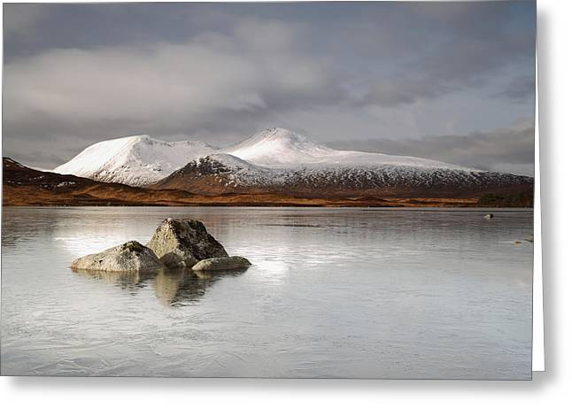 Scotland Greeting Cards - Black Mount and Lochan na h-Achlaise Greeting Card by Maria Gaellman