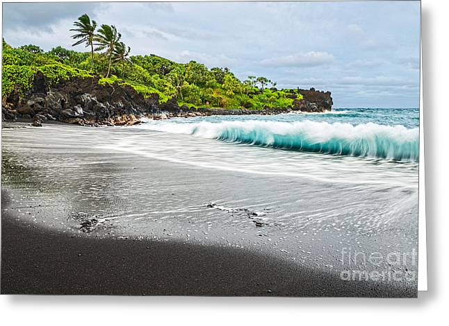 Movement. Blur Greeting Cards - Black Sand Paradise Greeting Card by Jamie Pham