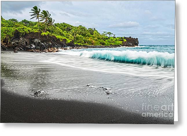 Famous State Parks Greeting Cards - Black Sand Paradise Greeting Card by Jamie Pham