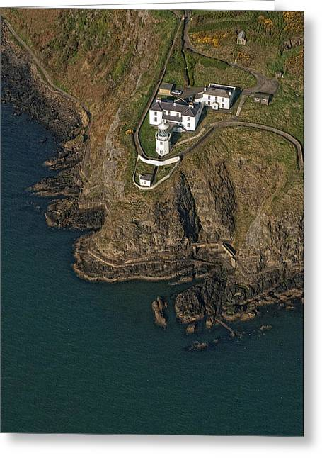 Towering Sea Cliffs Greeting Cards - Blackhead Lighthouse, Larne Greeting Card by Colin Bailie