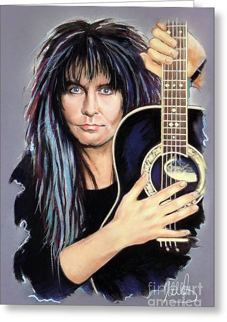 Hard Rock Mixed Media Greeting Cards - Blackie Lawless Greeting Card by Melanie D