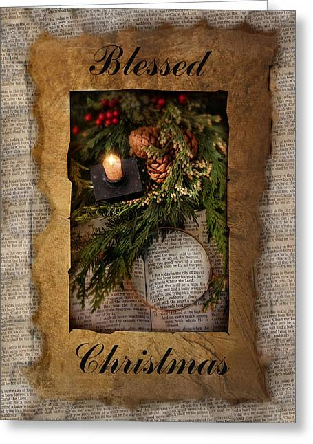Scripture Cards Greeting Cards - Blessed Christmas Greeting Card by Robin-lee Vieira