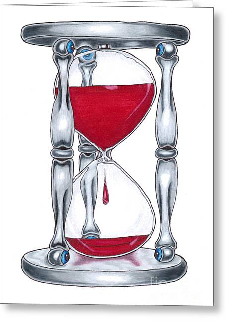 Drip Drawings Greeting Cards - Blood Of Time Greeting Card by Brian Mako