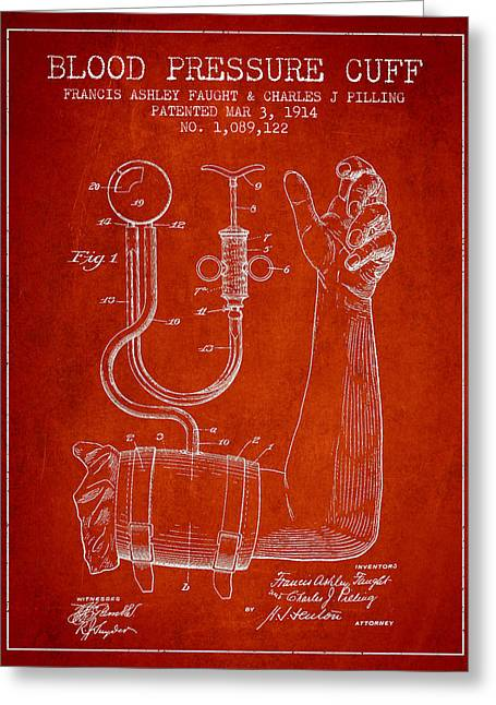 Pulse Greeting Cards - Blood Pressure Cuff Patent from 1914 Greeting Card by Aged Pixel