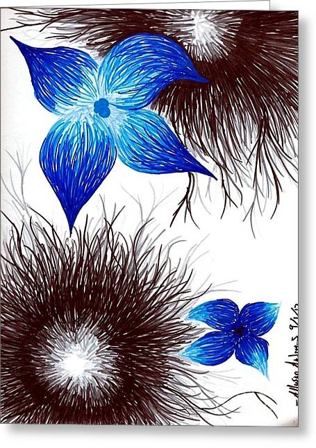 Blueberries Drawing Greeting Cards - Blue Greeting Card by Allyson Andrewz